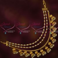 Bahubaali Movie Devasena Style Earchains Maatil Pearl Drops Gold Plated Jewellery Shop Online