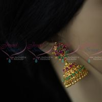 Ruby Emerald AD Stones Jimikky Kammal Screwback South Indian Jewellery Shop Online