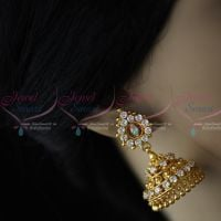 White AD Stones Jimikky Kammal Screwback South Indian Jewellery Shop Online