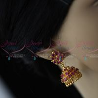 Semi Precious Ruby Stones Gold Plated Screw Back Big Size AD Stones Jimikki Earrings Heavy Design Online