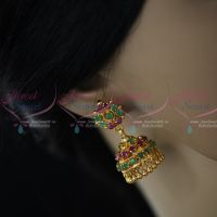 Semi Precious Ruby Emerald Stones Gold Plated Screw Back Big Size AD Stones Jimikki Earrings Heavy Design Online
