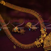 Peacock Pendant Ruby Emerald Chain Matte Finish Haram Fashion Jewellery Collections Online