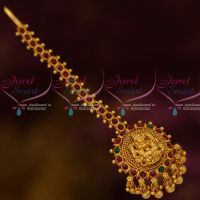 Kemp Red Green South Indian Laxmi God Design Jewellery NethiChutti Matte Gold Finish Drops Online