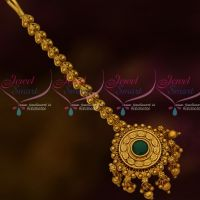 Green Stone Bead Drops Leaf Design Pendant NethiJuti Forehead Jewellery New Collections Online