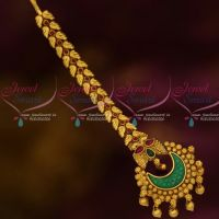South Indian Traditional Jewellery Big Green Stone Maang Tikka Fany Designs