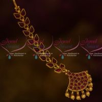 Kemp Full Red Stones Matte Finish Gold Plated Maang Tikka Latest Jewellery Shop Online