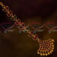 Kemp Red Green Stones Matte Finish Gold Plated Maang Tikka Latest Jewellery Shop Online