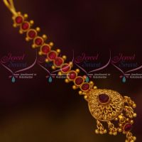 Kemp Red Thick Stiff Design Small Size Maang Tikka Forehead South Indian Jewellery Online