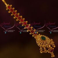 Kemp Red Green Thick Stiff Design Small Size Maang Tikka Forehead South Indian Jewellery Online