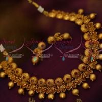 Floral Design Golden Bead Drops Red Stones Latest Matte Fashion Jewellery Online
