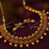 Floral Design Golden Bead Drops Ruby Emerald Stones Latest Matte Fashion Jewellery Online