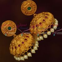 Matte Copper Tone Gold Colour Broad Design Jhumka Earrings Latest Fashion Jewellery Red Green Shop Online