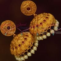 Matte Copper Tone Gold Colour Broad Design Jhumka Earrings Latest Fashion Jewellery Red Stones Shop Online
