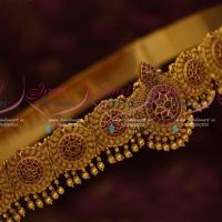Ruby Stones Gold Finish Antique Matte Fashion Latest Bridal Oddiyanam Designs Shop Online