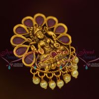 Small Size Laxmi God Design Jada Billa Matte Gold Antique Jewellery Red Stones Pearl Drops U Pin