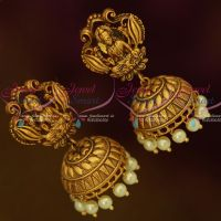 Temple Jewellery Antique Matte Dull Gold Jhumka Earrings Latest Traditional Designs Shop Online