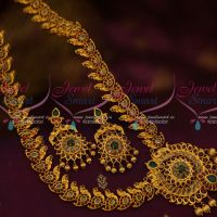 Peacock Design Kemp Semi Precious Stones Gold Finish Traditional Haram Matte Finish Plating Shop Online