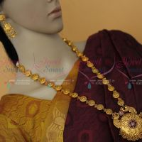 South Indian Jewelelry Round Peacock Chain Floral Pendant Red Stones Haram Traditional Collections Online