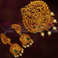 Matte Antique Finish Temple Jewellery Pendant Jhumka Earrings Red Green Stones Shop Online