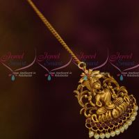 South Indian Laxmi God Design Jewellery Red Stones Matte Gold Finish Pearl Drops Online
