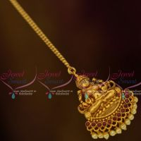 South Indian Laxmi God Design Jewellery NethiChutti Matte Gold Finish Red Pearl Drops Online