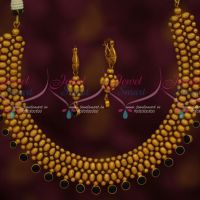 Hand Beaded Thushi Necklace Black Stone Drops Latest Fashion Jewellery Designs Shop Online