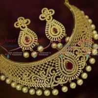 AD Ruby White Latest Design Choker New Fashion Bridal Jewellery Shop Online