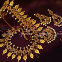 Broad AD Haram Ruby White Stones Semi Precious Gold Plated Jewellery Collections Shop Online