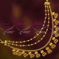 Bahubaali Movie Devasena Style Earchains Maatil Golden Drops Fashion Jewellery Shop Online