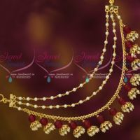 Red Color Pearl Earchains Maatil Bead Drops Gold Plated Fashion Jewellery Shop Online