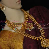 Long Short Combo Bridal Jewellery Antique Intricate Gold Finish Premium Matte Finish Collections