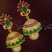 Beautiful Look AD Multi Colour Sparkling Jewellery Jhumka Earrings Latest Designs Shop Online