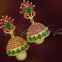 Beautiful Look AD Ruby Emerald Sparkling Jewellery Jhumka Earrings Latest Designs Shop Online