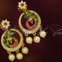 Stylish AD Multi Colour Peacock Earrings Small Design Fashion Jewellery Shop Online
