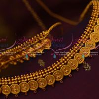 Red Stones Jewellery Temple Coin Laxmi God Embossed Design Matte Gold Finish Vaddanam Online