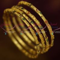 Gold Plated 4 Pieces Set Thin Design Enamel Traditional Bangles Shop Online