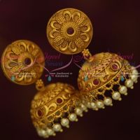 Floral Design Matte Copper Tone Gold Red Stones Jhumka Earrings Latest Jewellery Online
