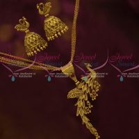 Multi Strand Chain Peacock Stylish Pendant Jhumka Antique Jewellery Collections Online