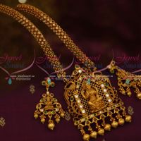 Exclusive Temple Jewellery Semi Precious Stone Chain Hand Setting Gold Finish Latest Online