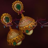 Antique Reddish Gold AD Multi Colour Stones Jhumki Earrings Latest Collections Shop Online