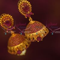 Antique Reddish Gold AD Ruby Stones Jhumki Earrings Latest Collections Shop Online
