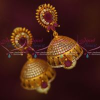 Antique Reddish Gold AD Ruby White Jhumki Earrings Latest Collections Shop Online