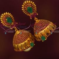 Antique Reddish Gold AD Ruby Emerald Stones Jhumki Earrings Latest Collections Shop Online