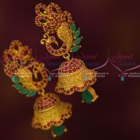 Matte Gold Reddish Colour Stylish Ruby Emerald Jhumka Earrings Latest Jewellery Online