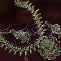Antique Silver Plated Peacock Short Necklace Latest Trendy Jewellery Collections Online