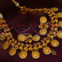 Gold Finish Peacock Laxmi Coin Exclusive Traditional Antique Jewellery AD Stones Designs Online