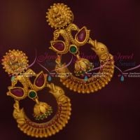 Ruby Emerald Beautiful Design Temple Earrings Latest Matte Gold Plated Jewellery Collections Shop Online