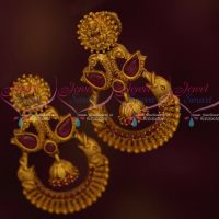 Ruby Stones Beautiful Design Temple Earrings Latest Matte Gold Plated Jewellery Collections Shop Online