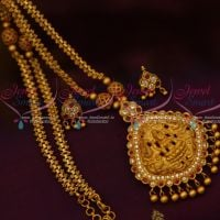 Temple Jewellery Chain Pendant Semi Precious Ruby Hand Setting Matte Gold Plated Shop Online