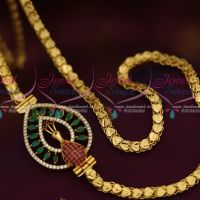 5 MM Gold Plated Chain 24 Inches AD Multi Colour Mugappu South Indian Imitation Jewellery Designs Online
